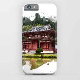 Japanese Red Temple in Kaneohe Hawaii Watercolor Art iPhone Case