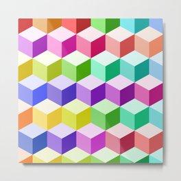 Cube Pattern Multicolored Metal Print
