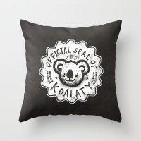 koala Throw Pillows featuring Koala by Ronan Lynam