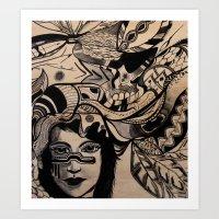 headdress Art Prints featuring Headdress by creative kids