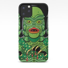 Creature from the Black Lagoon in blanched green on black iPhone Case