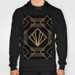 Retro vintage glam 1920s fashion black and gold geometric pattern art deco  Hoody