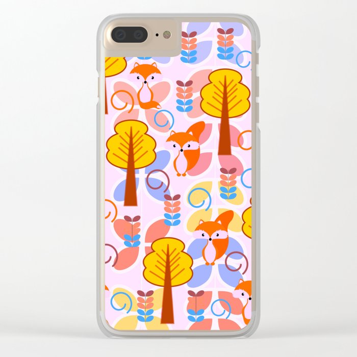 Cute foxes in a magical forest Clear iPhone Case