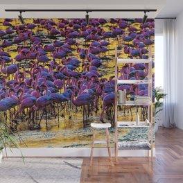 Pink Flamingos on the Serengeti Wall Mural