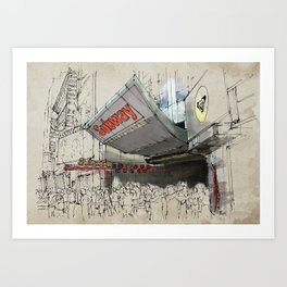 Times Square Sketch, Subway sketch, New York Art Print