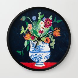 Bouquet of Flowers in Blue and White Urn on Navy Wall Clock