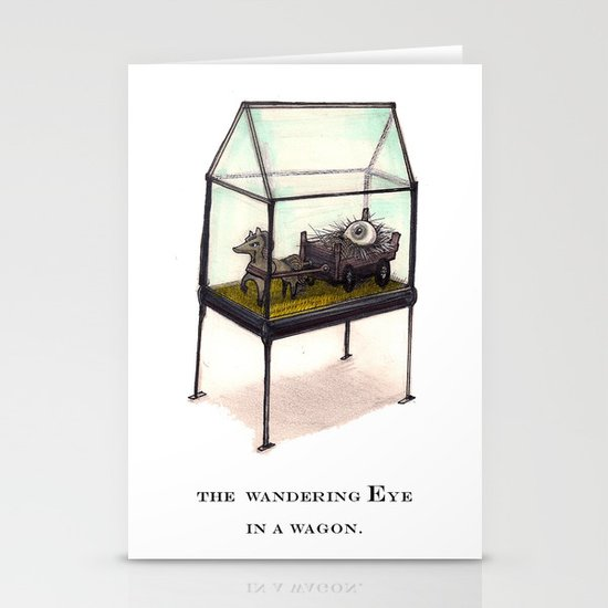 the wandering Eye in a wagon Stationery Cards