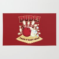 the dude Area & Throw Rugs featuring Dude! by Stationjack
