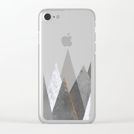 Marble Gray Copper Black and White Mountains Clear iPhone Case