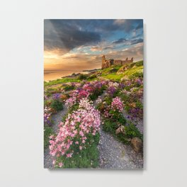 Scottish Castle ruin at Sunset Metal Print