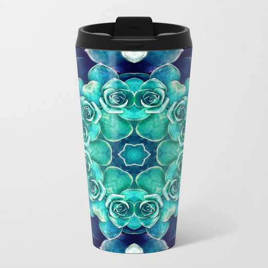 Turquoise Succulents Mandala Metal Travel Mug