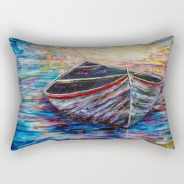 Wooden Boat at Sunrise my Painting with a Palette Knife Rectangular Pillow