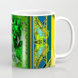 YELLOW  DECORATIVE  GREEN EMERALD GEM & BUTTERFLY ART Coffee Mug