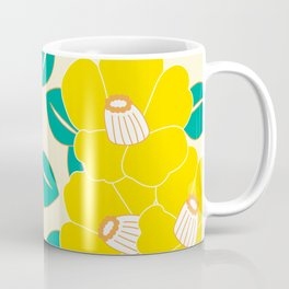 Japanese Style Camellia - Yellow and White Coffee Mug