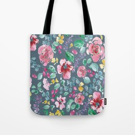 Pink Flowers on Gray Tote Bag