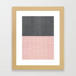 Concrete + Peach Pink Tile Grid Framed Art Print