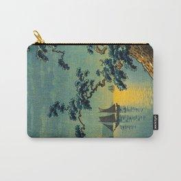 Tsuchiya Koitsu Maiko Seashore Japanese Woodblock Print Night Time Moon Over Ocean Sailboat Carry-All Pouch