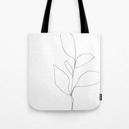 Five Leaf Plant Minimalist Line Drawing - Horizontal Tote Bag
