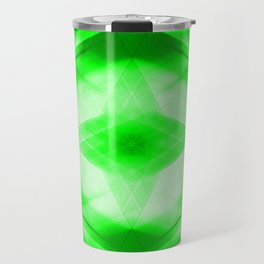 Bright warm triangular strokes of intersecting sharp lines with emerald triangles and a star. Travel Mug