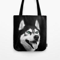 husky Tote Bags featuring Husky by Isaloha Photography