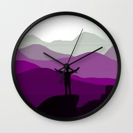 Asexual Pride Person Standing with Mountains at Sunrise Wall Clock