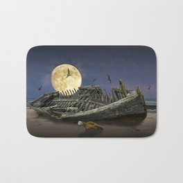 Moon and Wooden Shipwreck with Gulls Bath Mat