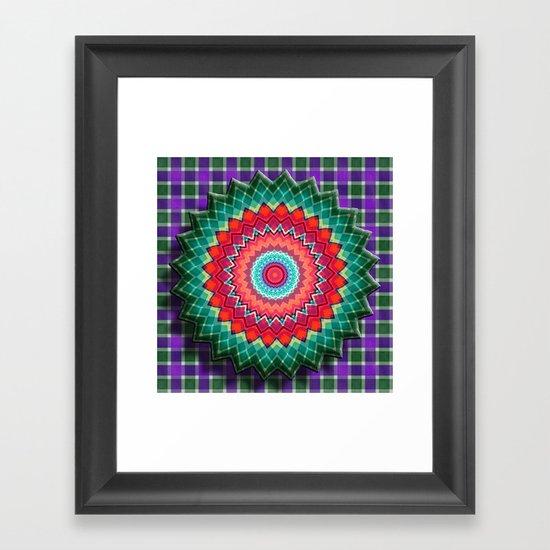 Plaid Flower Framed Art Print