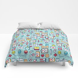 Proud To Be a Nurse Pattern / Blue Comforters