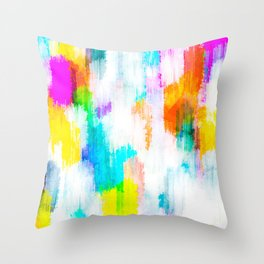 colorful splash painting texture abstract background in yellow blue pink orange Throw Pillow