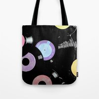 records Tote Bags featuring Records by Whitney Retter