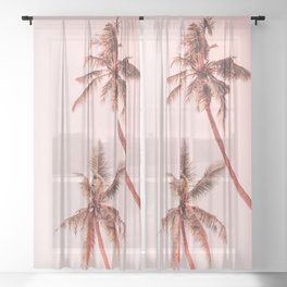 Sunset palms Sheer Curtain
