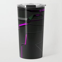 Black fractured surface with purple glowing lines Travel Mug