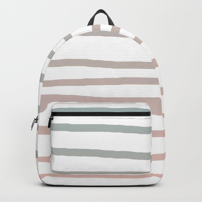 Simply Drawn Stripes in Coral Peach Sea Green Gradient Backpack