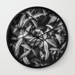 leaves texture background in black and white Wall Clock
