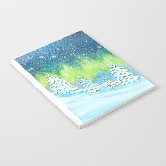 Winter Aurora Landscape Notebook