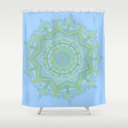 Blue and Green Flower Mandala Shower Curtain