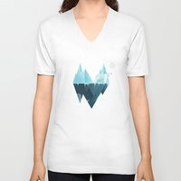 low poly V-neck T-shirts featuring Low Poly Polar Bear by scarriebarrie