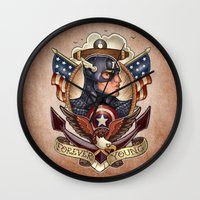 forever young Wall Clocks featuring FOREVER YOUNG by Tim Shumate