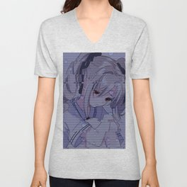 Sad anime aesthetic - rainy day Unisex V-Neck