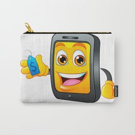 Yellow fun mobile phone cartoon with blue price tag dollar sign Carry-All Pouch