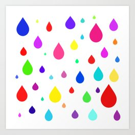 colorful raindrops Art Print