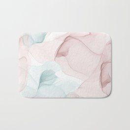 Blush and Blue Flowing Abstract Painting Bath Mat