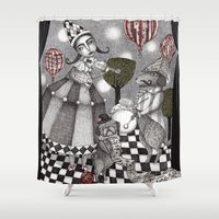concert Shower Curtains featuring Alice's After Tea Concert by Judith Clay