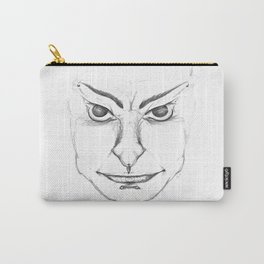 Pierced Sketch Face Carry-All Pouch