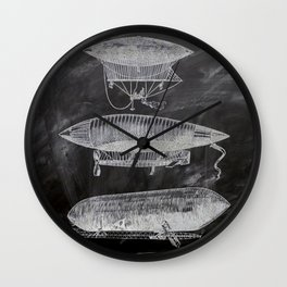 chalkboard art victorian steampunk hot air balloon airship patent print Wall Clock