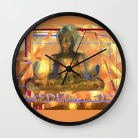 meditation Wall Clocks featuring Meditation by Paola Canti