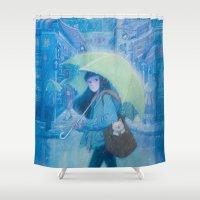 hong kong Shower Curtains featuring My Hometown---Hong Kong by Phoenix Chan