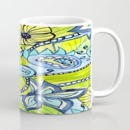 Turquoise, Yellow, and Green Floral Coffee Mug