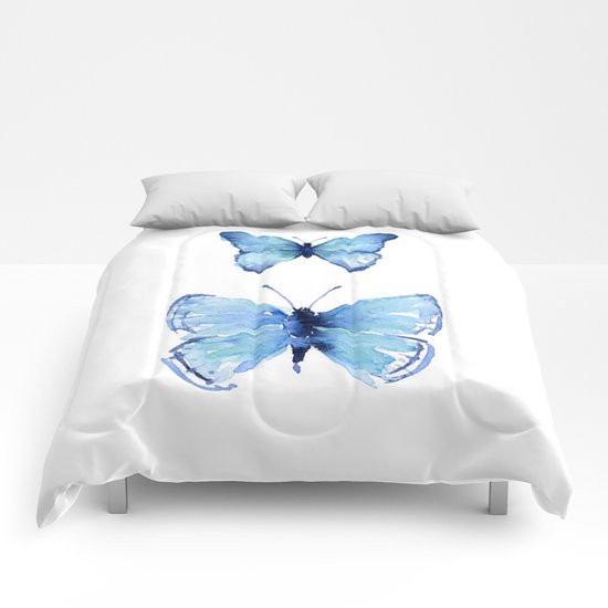 Two Blue Butterflies Watercolor Comforters