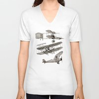airplanes V-neck T-shirts featuring airplanes 3 by Кaterina Кalinich